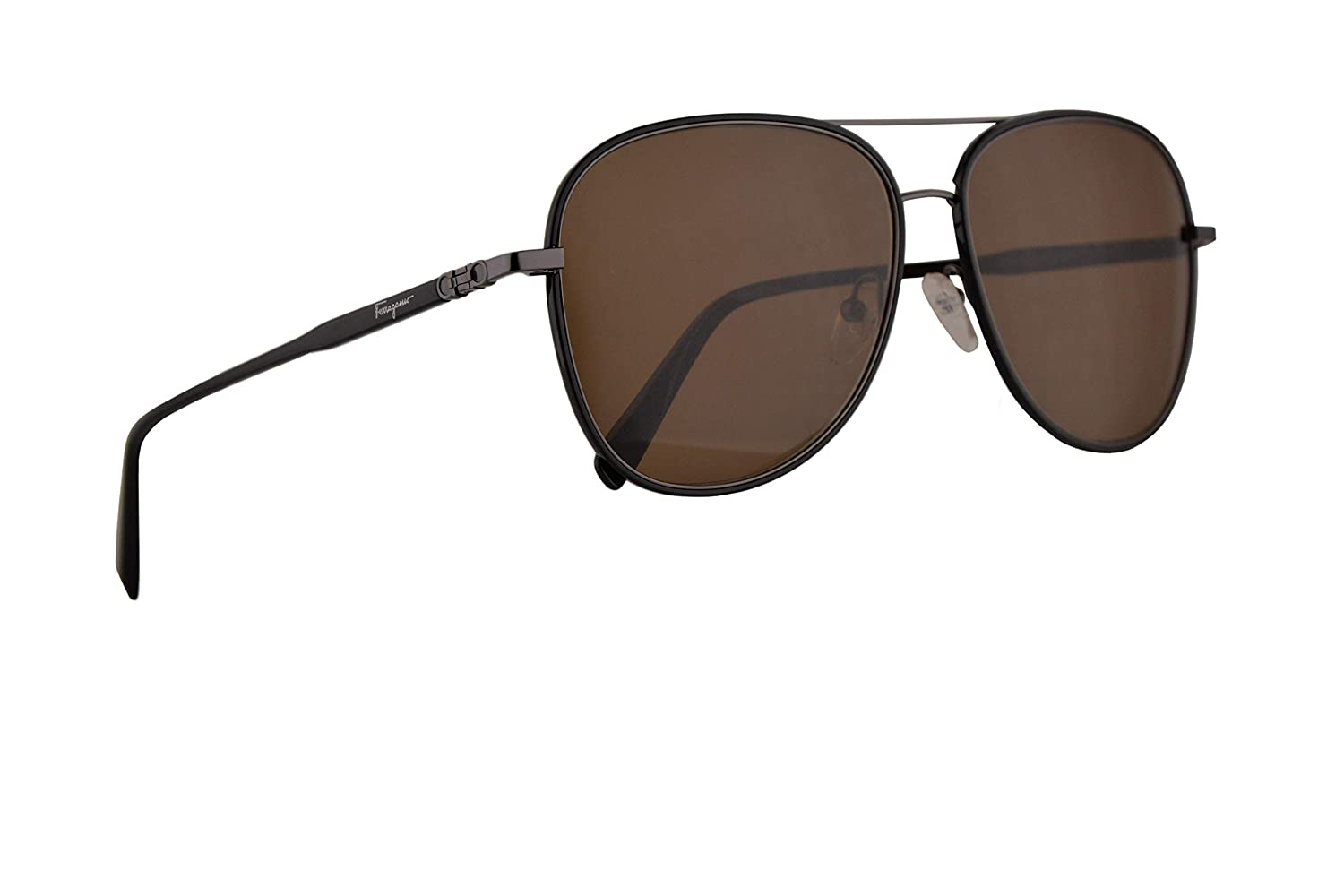 f8f6a2f046 Amazon.com  Salvatore Ferragamo SF181S Sunglasses Black w Brown Lens 60mm  001 SF 181S  Clothing