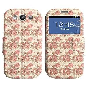 Be-Star Diseño Impreso Colorido Slim Casa Carcasa Funda Case PU Cuero - Stand Function para Samsung Galaxy S3 III / i9300 / i717 ( Butterflies And Flowers )