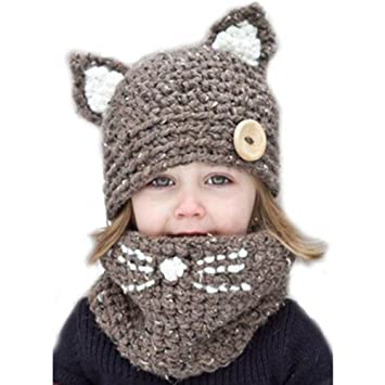 7a85040360f Ssowun Fletion Chapeau Enfants Laine Chapeau Collier Hiver Écharpe Garder  au Chaud Bonnet en Tricot Mignon