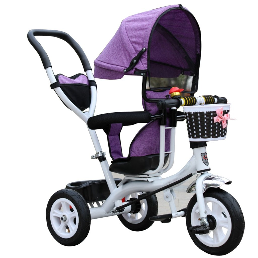KANGR-子ども用自転車 三輪車のベビーキャリッジバイク子供のおもちゃのトロリーインフレータブルホイール自転車3ホイール、回転可能な座席(ボーイ/ガール、1-3-5歳) B07BTWWV8F