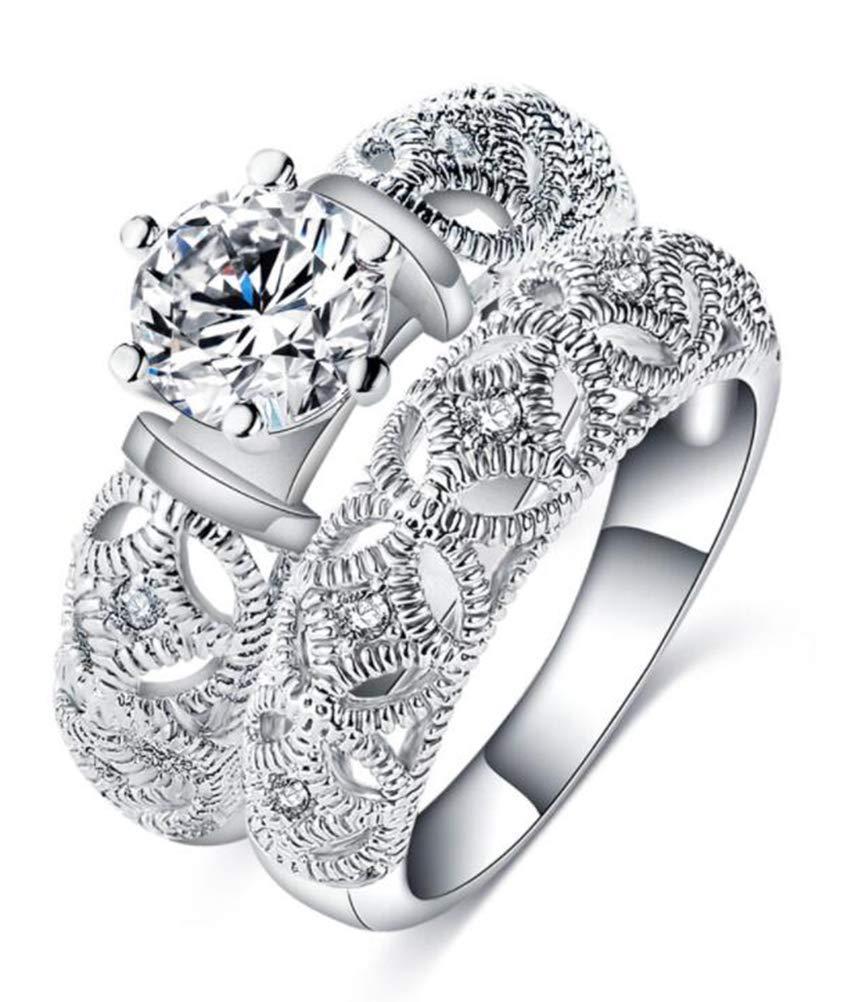 TEMEGO CZ Wedding Ring Set,Round Cut Solitaire Cubic Zirconia 2 Piece Bridal Ring Set,Size 6