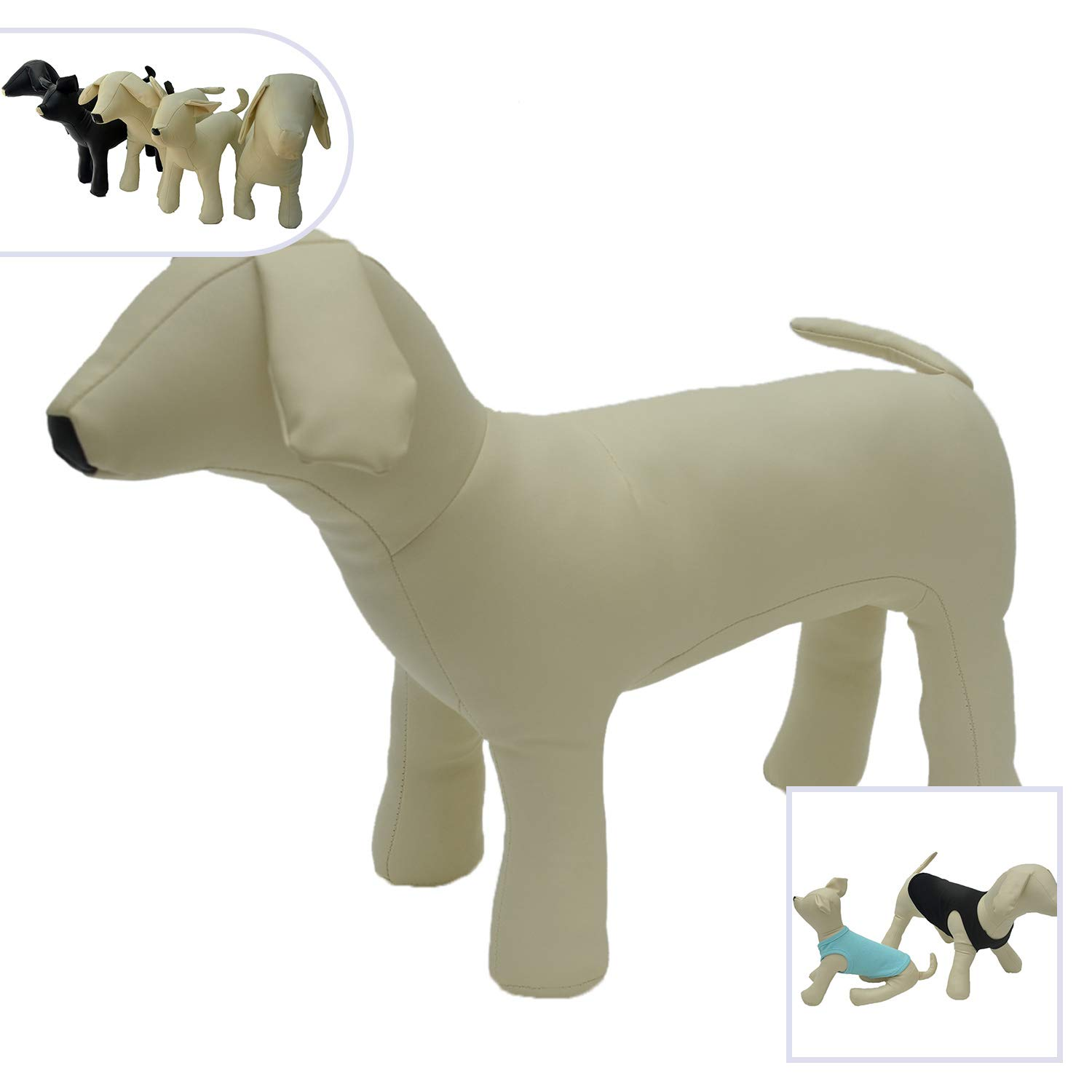 Lovelonglong PU Leather Dog Mannequins Standing Models to Display for Dog Clothing Pet Shop Beige M (Small Dog)