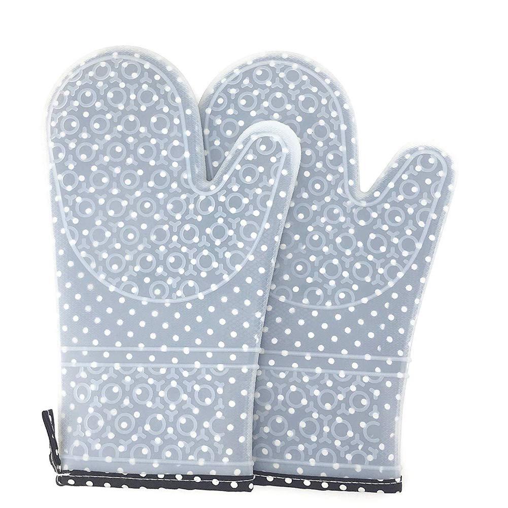 Grill azienda pot 30/×18.5cm 1 coppia silicone resistente al calore guanti antiscivolo con fodera in cotone per cucina baking-oven Guanti da forno antiscivolo Guanti da Cucina per Cucina