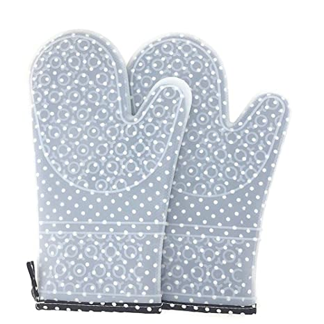 F.anlos Ofenhandschuhe Set, Topfhandschuhe Silikon, Ofenhandschuhe und Topflappen, Hitzebeständige Grillhandschuhe, Topfhands