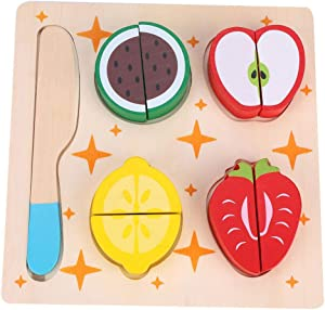 banapoy Pretend Play Food, Lovely Shape Non-Toxic Material Pretend Food Lot, Boys for Girls Kitchen Home(Fruit Puzzle 01)