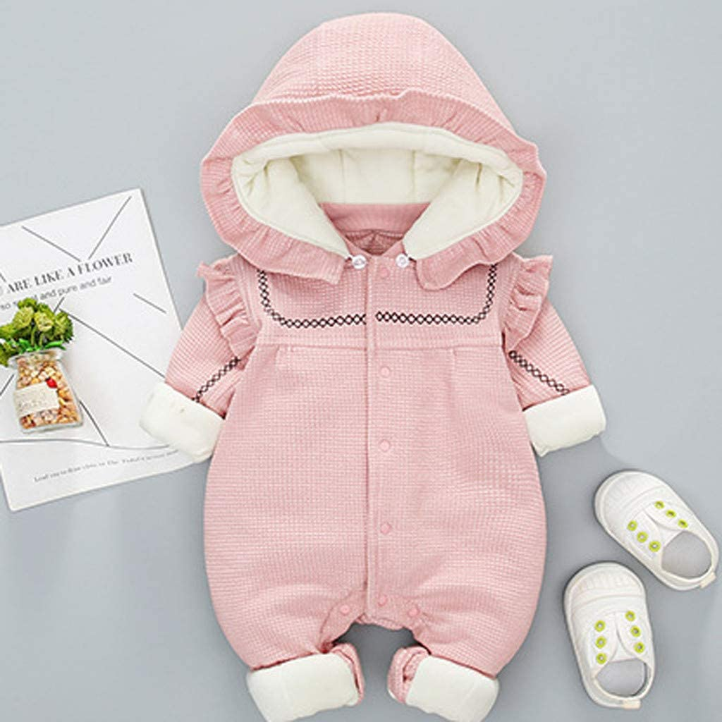 Infant Baby Thick Warm Romper Girl Boy Floral Ruffle Jumpsuit Long Sleeve Playsuit Outfits,SIN vimklo,3-24 Months