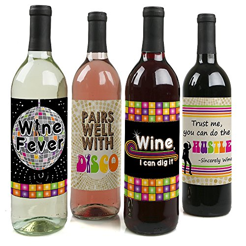 70's Disco - 1970's Disco Fever Party Decorations for Women and Men - Wine Bottle Label Stickers - Set of 4 -