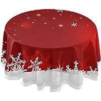 xigua Kerst Sneeuwvlok Ronde Tafelkleed Wasbaar Polyester Tafelhoes 60 inch voor Hallloween, Thanksgiving en Kerst Party…