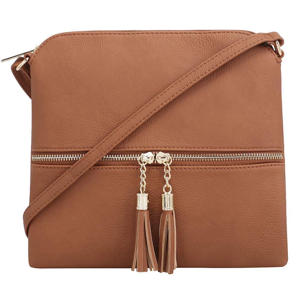 SG SUGU Lightweight Medium Crossbody Bag with Tassel and Zipper Pocket HY2038A