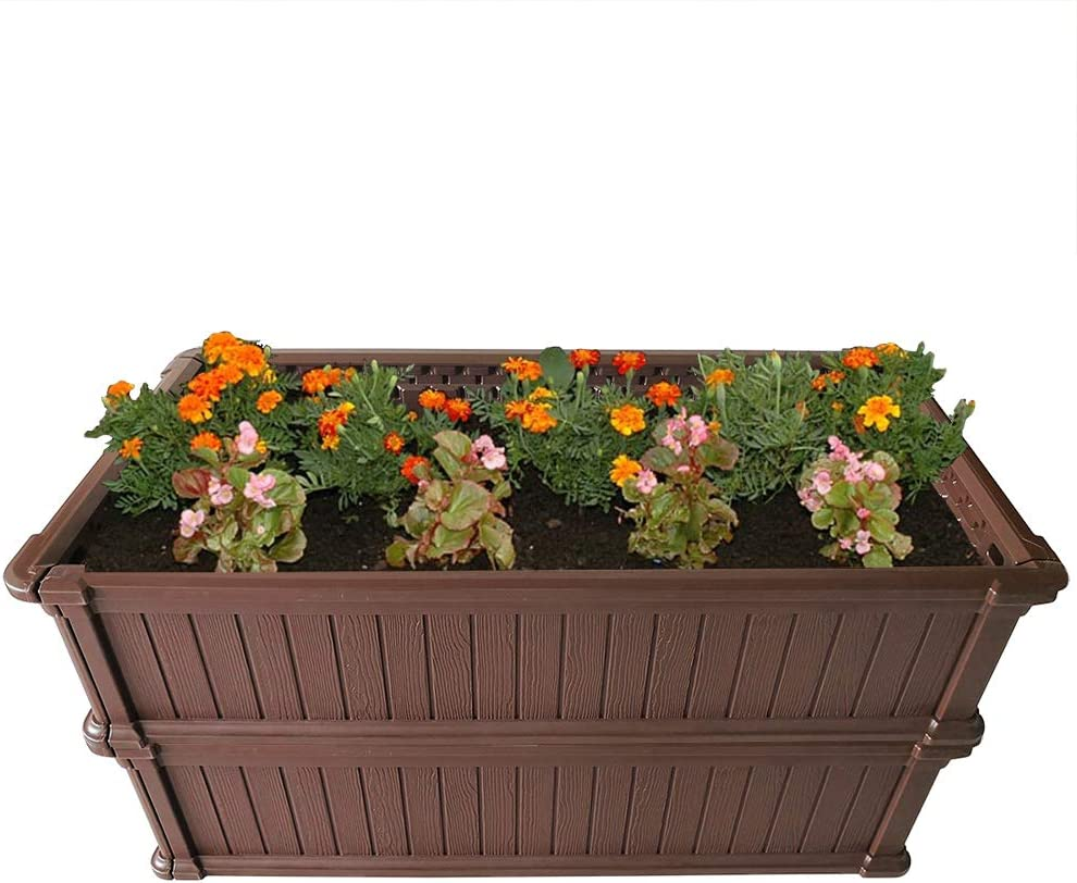 Modern Home Raised Garden Bed Kit - Stackable Modular Flower/Planter Kit (4'x2' Brown, Set of 2)