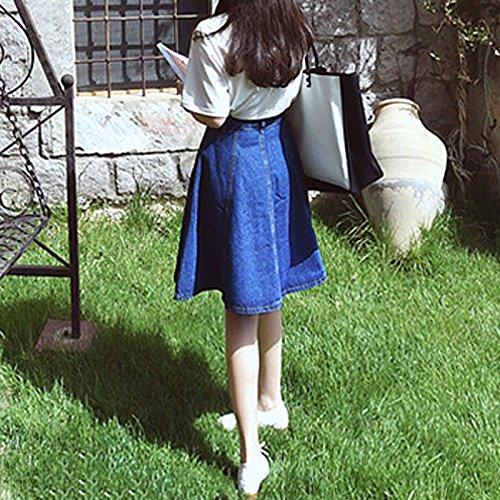 Genoux Jean Longueur Hihamer Coton en Confortable Mini Jupe Femme xwgq4RI8