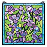 Stained Glass Panel - Van Gogh Saint-Remy Irises Stained Glass Window Hangings - Window Treatments