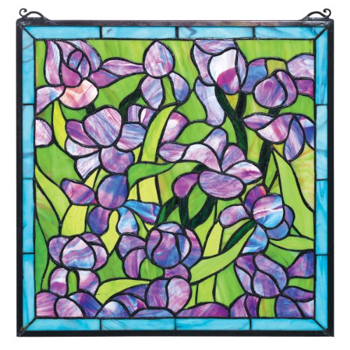 Design Toscano Van Gogh Saint-Remy Irises Stained Glass Window Hanging Panel, 17 Inch, Purple Iris