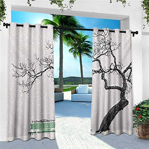 Tree, Outdoor Curtain Extra Wide, Dramatic Winter Scenery with Retro Bench and Lonely Tree in a Cold Day, Outdoor Curtain Panels for Patio Waterproof W120 x L108 Inch Charcoal Grey Sea Green ()