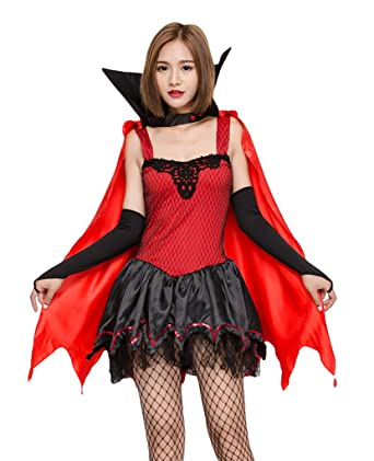COMVIP V&ire Cosplay Halloween 3 Pieces Dress Cape Costume Set Red  sc 1 st  Amazon.com & Amazon.com: COMVIP Vampire Cosplay Halloween 3 Pieces Dress Cape ...