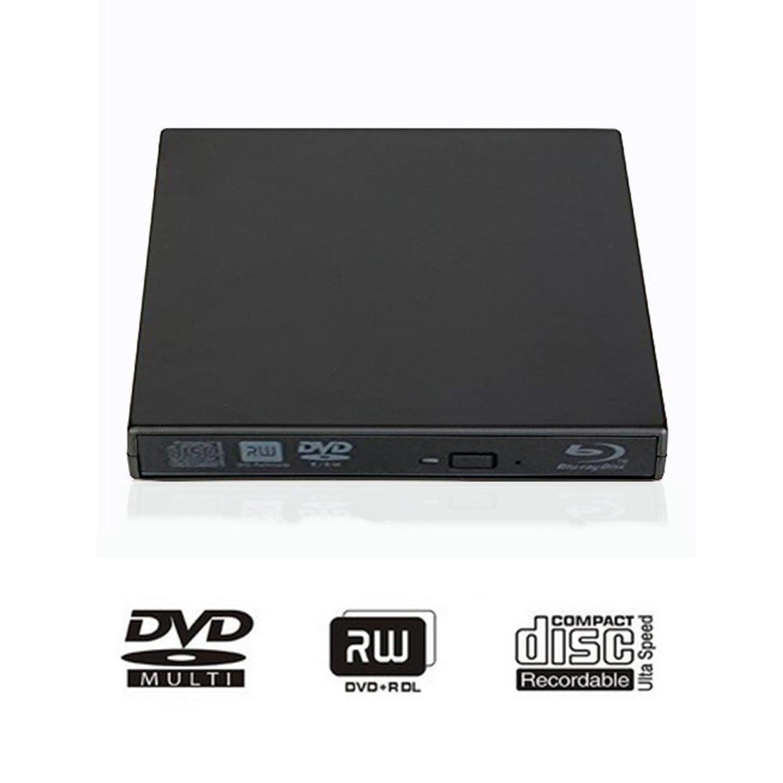 External Blu-ray DVD CD Drive USB 2.0 3D Blu-Ray Player Portable CD/DVD-ROM Burner BD-ROM for PC Compute Desktop Notebookr (Black)