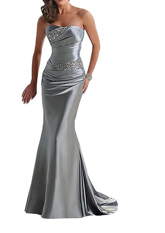 Vickyben–Vestido de noche de mujer largo, escote palabra de honor, corte sirena plata 44