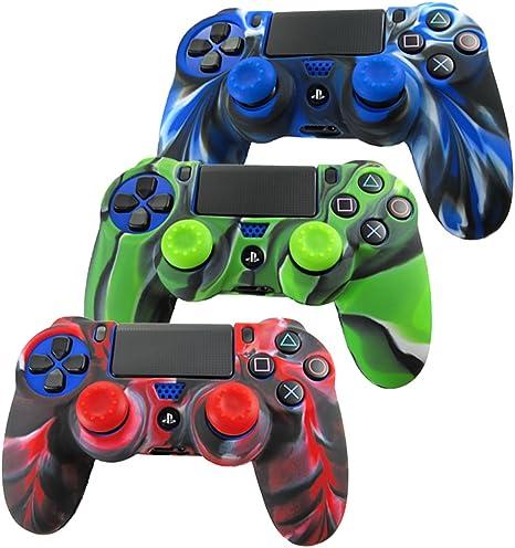 Pandaren® Piel Fundas Protectores para el Mando PS4 x 3 + pulgar agarre thumb grip x 6(camuflaje verde): Amazon.es: Videojuegos