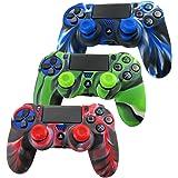 Pandaren® Piel Fundas Protectores para el Mando PS4 x 3 + pulgar agarre thumb grip x 6(camuflaje verde)