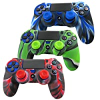 Pandaren silicone skin for PS4/ SLIM/ PRO controller x 3 + thumb grip x 6 (camouflage red blue green)