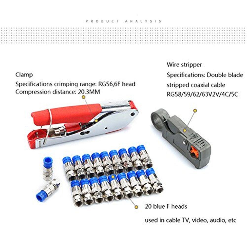 Pelacables Crimpadora de Compresión, Colomba Universal Coaxial Cable Alicates para Prensar Crimping plegar / Alicates de terminales Compresión Herramienta ...