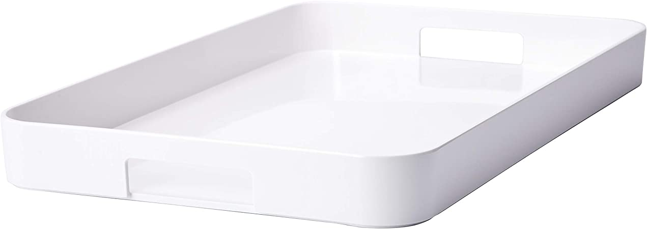 Zak Designs Perfect Living Room Kitchen Metal Handles Zak Serving Trays MeeMe Large Eggshell White