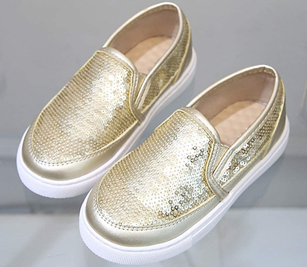iDuoDuo Girls Cute Sequins Low Top Casual Loafers Princess Party Dance Sneakers Toddler//Little Kid