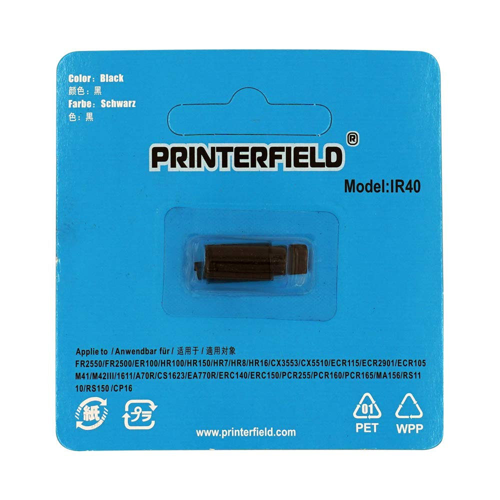 Printerfield 6-Pack Ribbon Ink Roller para IR-40 Cash Register Calculator Printer-Black