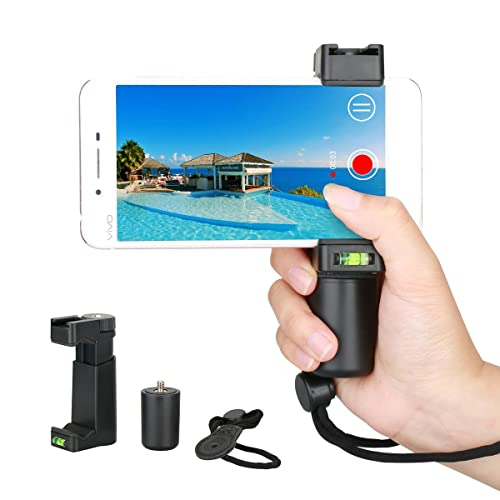 Hand Grip Holder Dazzne Smartphone Holder Selfie Stick with Handle & Mounting Shoe & Hand Strap String for iPhone X 8+ 8 7+ 7 6S+ 6S 6+ 6 5 5SE 4 Galaxy Note 8 S8 etc Landscape + Portrait Mode