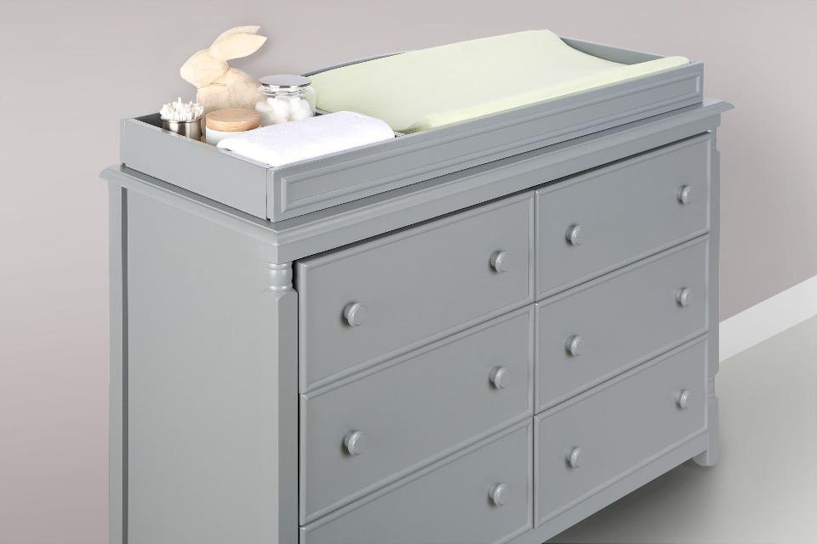 Eco Chic Baby Kennedy Changing Table Topper - Twilight Gray