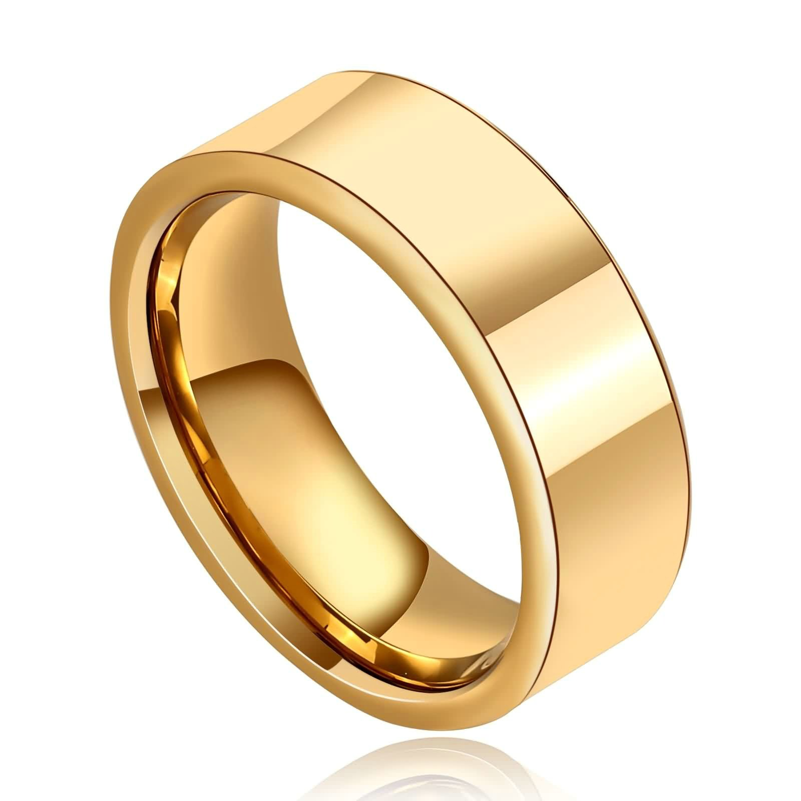 KnSam Stainless Steel Rings for Men Men's Ring Wide Flat Comfort Fit Wedding Band Gold Size 7