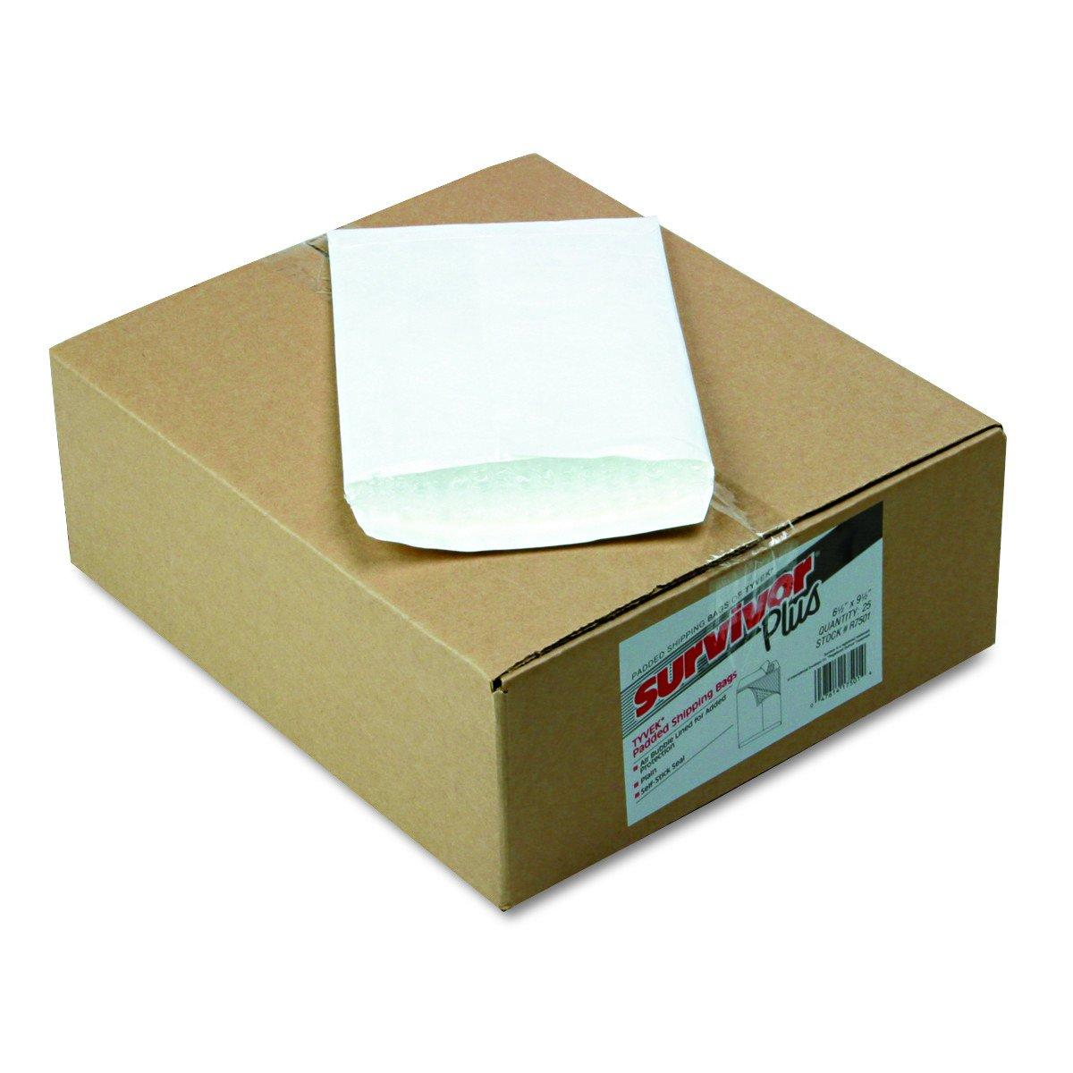 Quality Park R7501 Tyvek burbuja de aire Mailer Auto-Seal Side Seam 6 1/2 x 9 1/2 25/caja Blanco