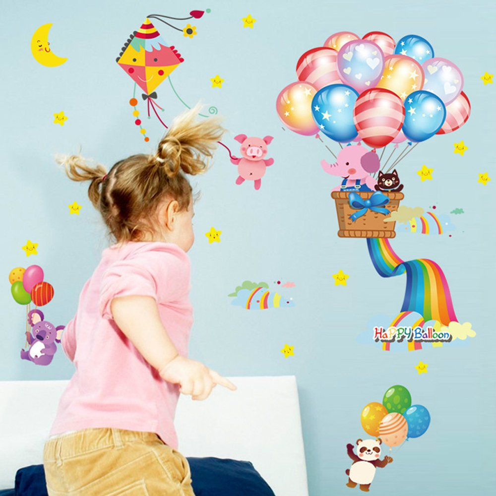 Top of top store Butterfly Flowers Wall Stickers Cartoon Animals Photo Frames Height Measurement Wall Decals Home Decor Mural Baby Boys Girls Kids Bedroom Kitchen Decoration (3D Sea House Scenery)
