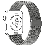 OULUOQI Apple Watch Band 38mm Silver Strong Magnetic Closure Clasp Mesh Milanese Loop Bracelet Metal Wrist Strap for Apple Watch Series 2 & Series 1 Sport & Edition