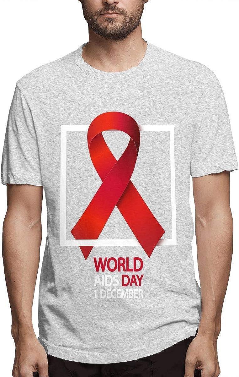 Estampado de los Hombres Transpirable SIDA Conocimiento Cinta roja ...