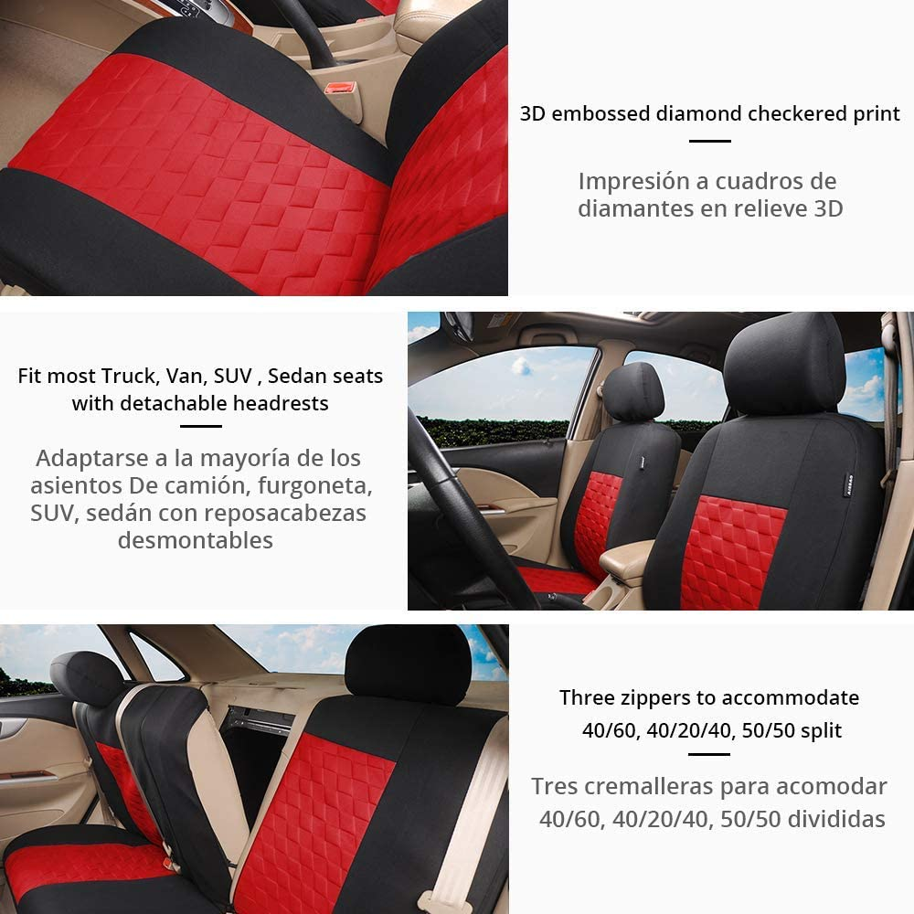 Airbag and Split Bench Compatible 3D Embossed Diamond Print Car Seat Protector for Auto,9PCS Red Trucks,SUV,Van TOYOUN Universal Full Car Seat Covers Set Fit Most Cars