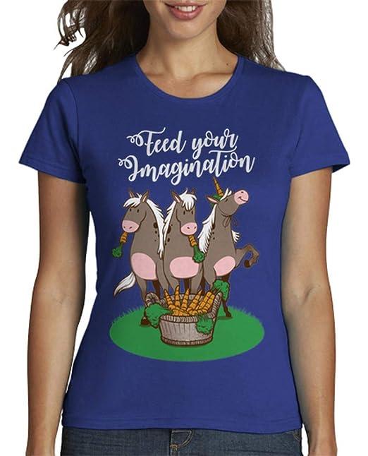 latostadora - Camiseta Feed Your Imagination para Mujer: info: Amazon.es: Ropa y accesorios