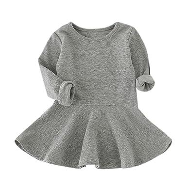 04fc41c9ec105 Ouneed® 1-5 Ans Bebe Fille Hiver Pull Robe a Manche Longe Haut Cotton
