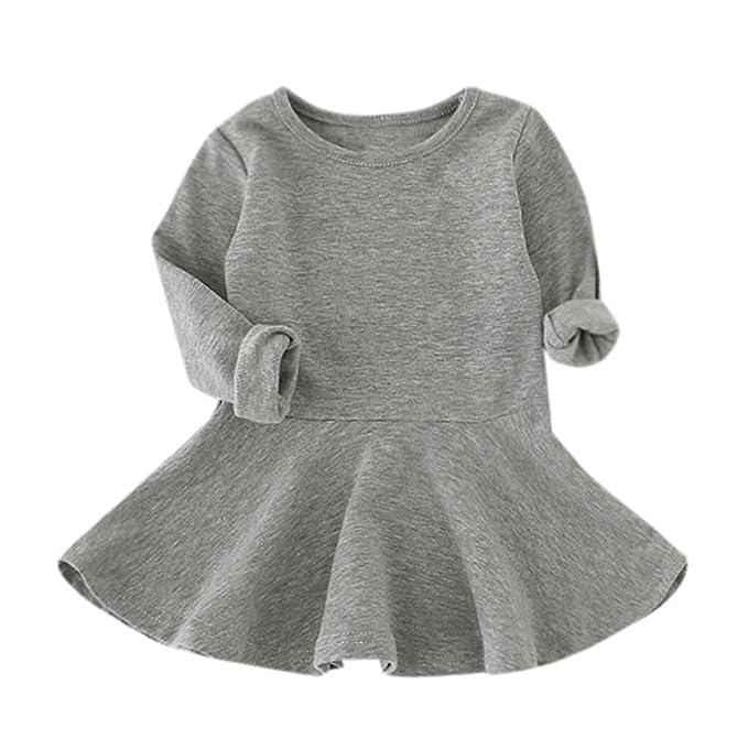 2dff300899b Ouneed® 1-5 Ans Bebe Fille Hiver Pull Robe a Manche Longe Haut Cotton Jupe  Combinasion  Amazon.fr  Vêtements et accessoires