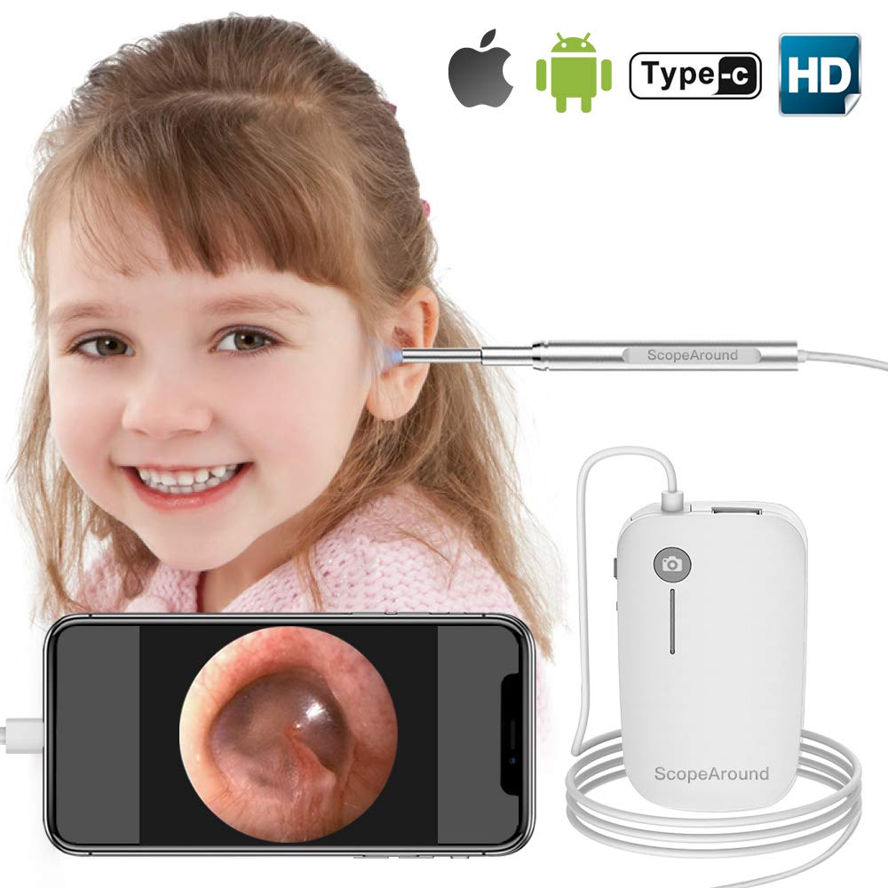 iPhone Otoscope, Scopearound New Upgrade 4.3mm Ultra-Slim HD Ear Scope Digital Otoscope Camera, Earwax Cleaning Tool with 6 LED Lights for iPhone and Android