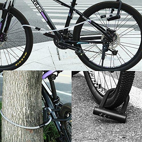 TanYoo Bike Lock Silica Gel Coating - 14mm Heavy Duty Bicycle Lock 45'' Steel Flex Cable 3 Keys + Mounting Bracket - Durable Anti-Theft by TanYoo (Image #6)