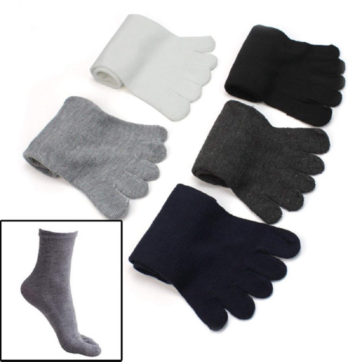 VISKEY Mens Five Seperate Finger Toe Socks Comfortable Cotton