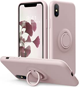 Vooii iPhone Xs/X Case Kickstand | Baby Grade Liquid Silicone | 10ft Drop Tested Protective, Microfiber Lining Shockproof Full-Body Cover Case for iPhone Xs/X (Sand Pink)