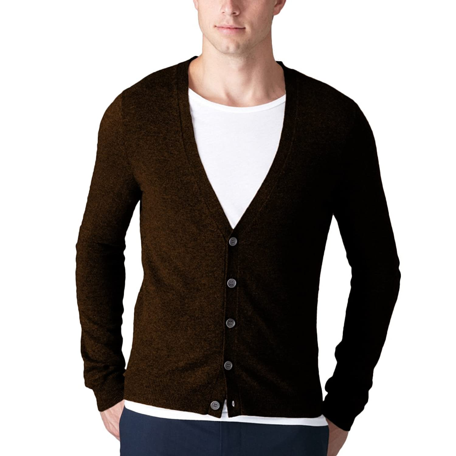 Parisbonbon Men's 100% Cashmere V-Neck Cardigan
