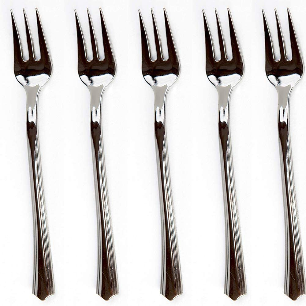 """200 Mini Plastic Tasting Forks for Appetizer - 4.2"""" Inches Reflection Stainless Steel Finished Silver Perfect Desserts Cocktail Cake Fruit Wedding Party Petite Premium Three Prong Disposable Fork"""