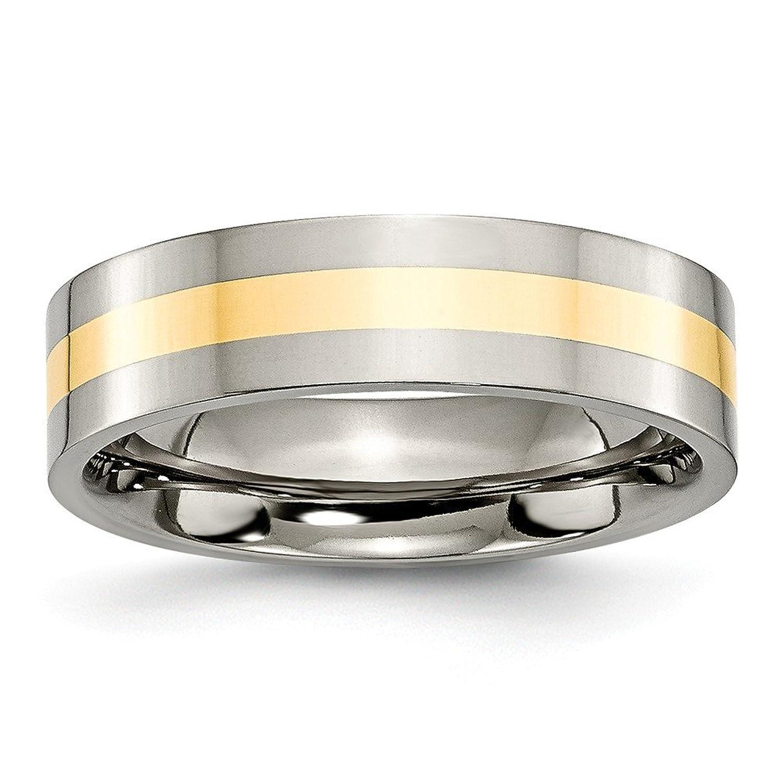 Titanium 14k Yellow Inlay Flat 6mm Polished Band Size 7
