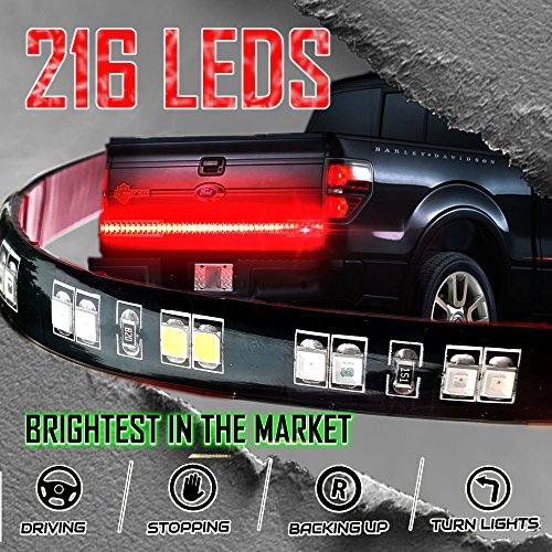 """Stop-Alert 60"""" Powerful LEDs - Multi-Function Tailgate Light Bar Strip - 216 LED w/468 Lumens - Day Light Running, Brake Signal, Reverse Back Up for SUV, Dodge Ram, Trailer, Ford F-150, Trucks"""