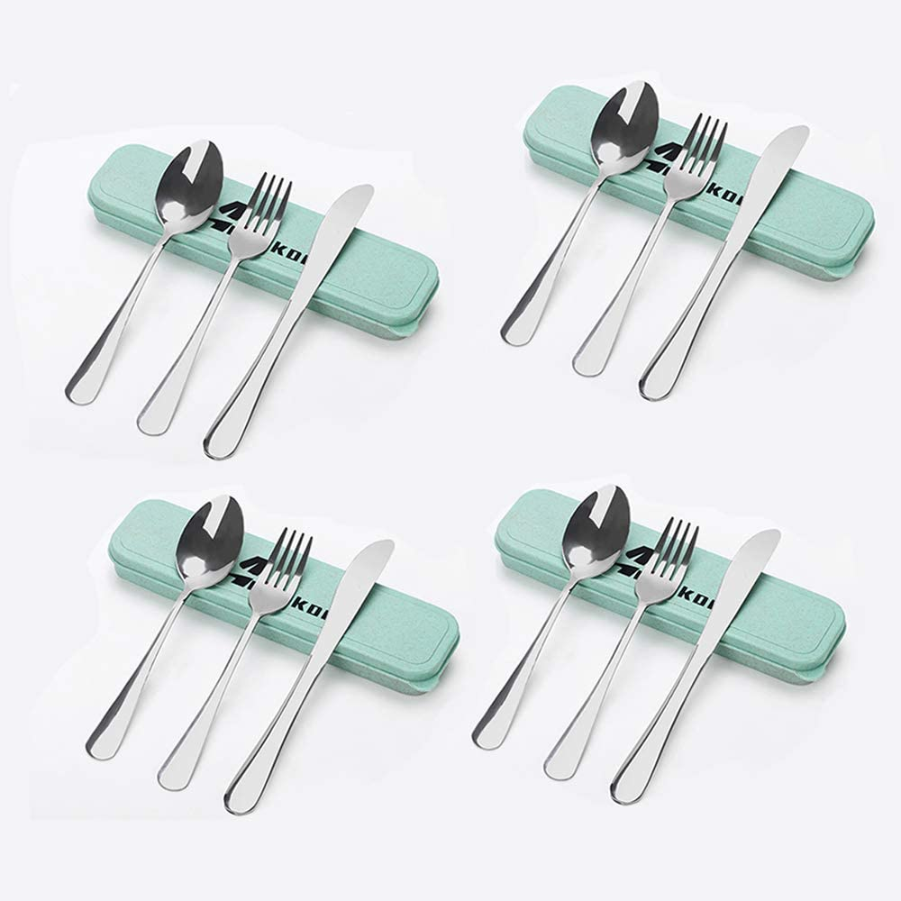 12 PCS Portable Utensils Set - Portable Cutlery Set - Stainless Steel Fork Spoon Knife Set for Lunch Box - Travel Utensils Set with Case - For Home Office Travel Bento Box and Camping