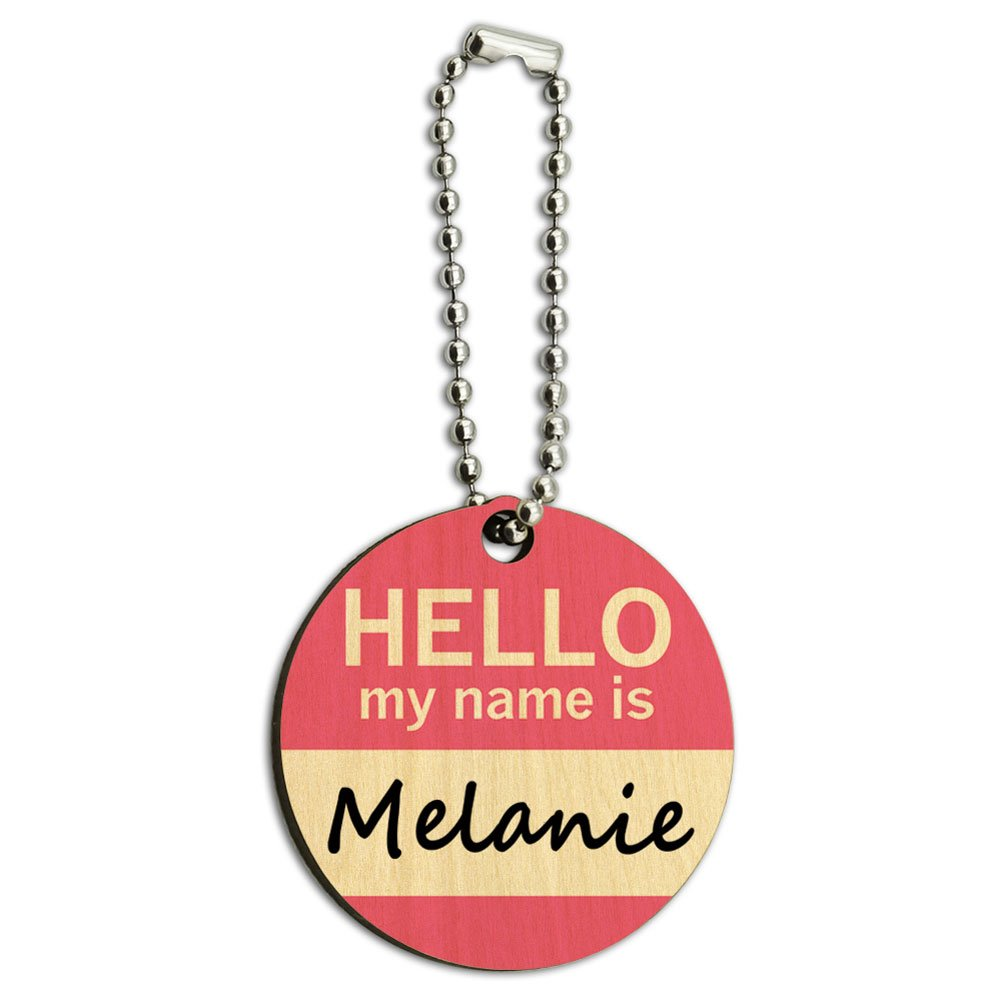 Melanie Hello My Name Is Wood Wooden Round Key Chain