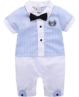 Qiribati Babys Cotton Short Sleeve Jumpsuit Strap Bow Tie Coverall Infant Star Print Baby Shower Outfit Set for Learning to Walk